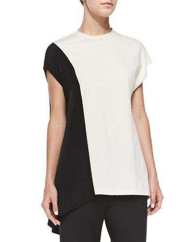 3.1 Phillip Lim Horizon Short-Sleeve Side-Drape Top