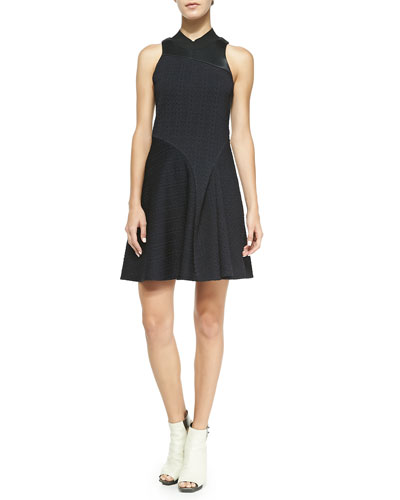 3.1 Phillip Lim Sleeveless Irregular-Pleat Combo Dress