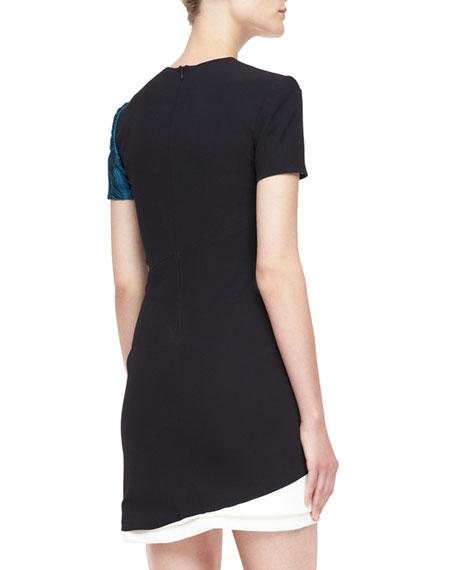 Short-Sleeve Silk Crepe Combo Dress, Empress Green