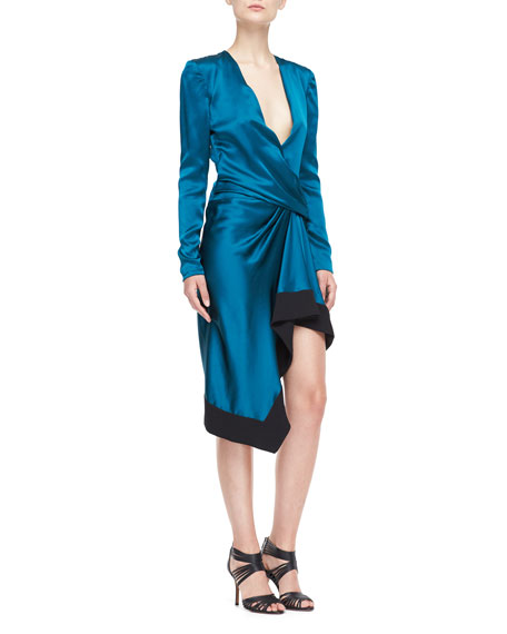 Long-Sleeve Draped V-Neck Dress, Empress Green