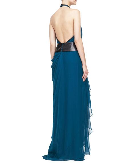 Asymmetric Draped Halter Gown, Empress Green