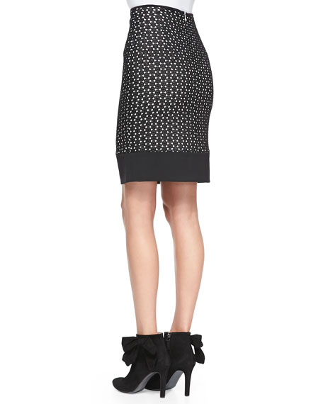 Dotted Lace-Overlay Skirt
