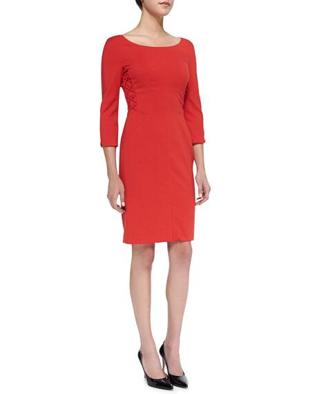 3/4-Sleeve Crisscross-Detail Sheath Dress