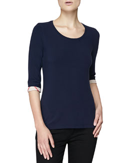 Burberry Brit 3/4-Sleeve Check-Cuff Jersey Tee, Navy