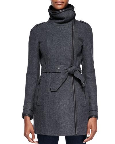 Burberry Brit Leather-Trim Funnel-Collar Coat