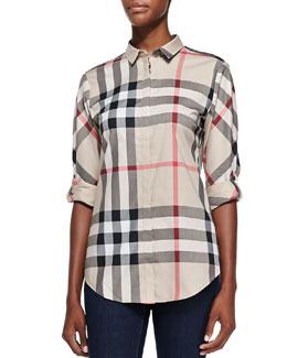 Burberry Brit Poplin Button-Down Check Shirt