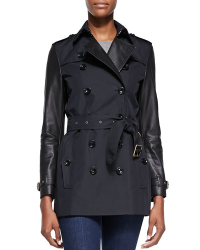 Burberry Brit Leather-Sleeve Trench Coat
