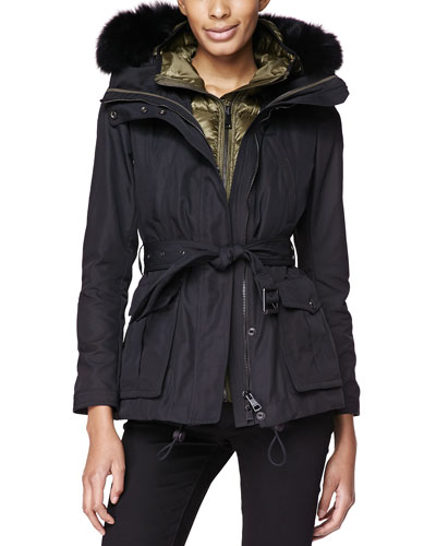 Burberry Brit Fox-Fur-Trim 3-in-1 Jacket