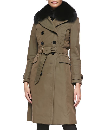 Burberry Brit Double-Breasted Trenchcoat W/ Removable Rabbit Fur Liner