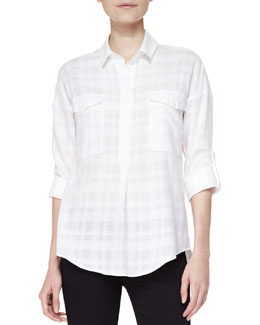 Burberry Brit Shadow Check Cotton Shirt, Natural White