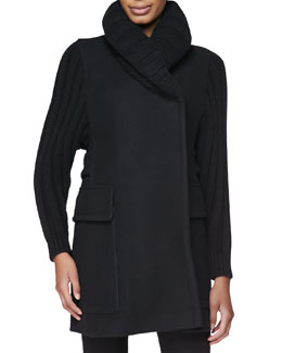 Burberry Brit Wool-Blend Jacket with Ribbed Knit Sleeves