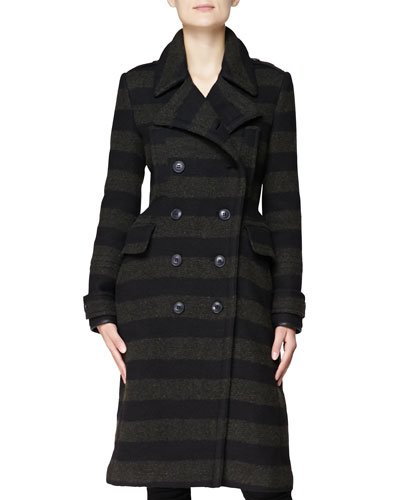 Burberry Brit Long Striped Double-Breasted Coat
