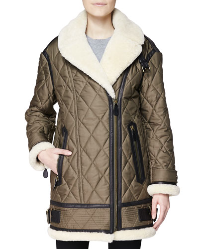 Burberry Brit Oversized Quilted Coat w/ Shearling Trim