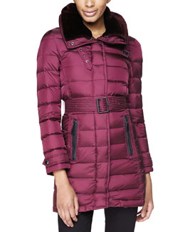 Burberry Brit Leather-Trim Puffer Coat W/ Shearling Fur Collar, Deep Claret
