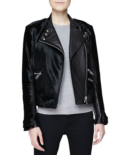 Burberry Brit Leather & Calf Hair Moto Jacket