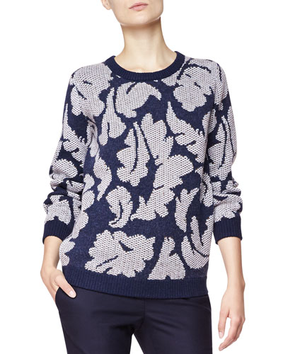 Burberry Brit Leaf Knit Sweater, Navy