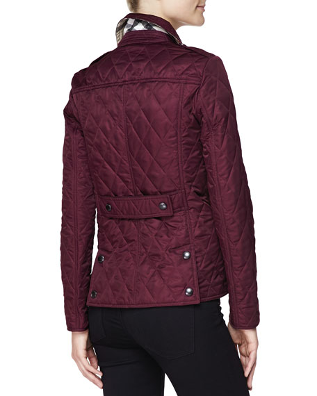 Burberry Brit Quilted Snap Jacket, Dark Claret : burberry purple quilted jacket - Adamdwight.com