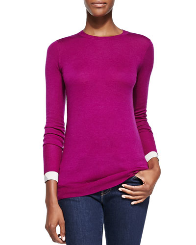 Burberry Brit Crewneck Sweater w/ Check Cuffs