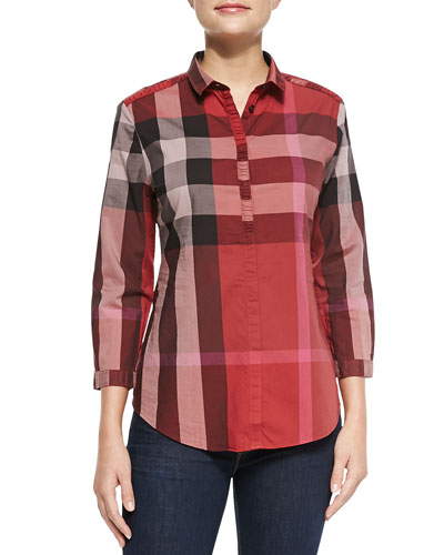 Burberry Brit Ruched Placket Check Button-Up Top, Berry Red