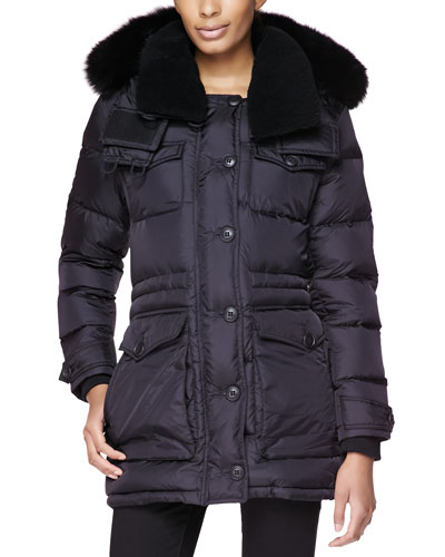 Burberry Brit Sporty Heavy Puffer Coat W/ Shearling Fur Collar