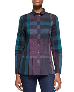 Burberry Brit Long-Sleeve Pintucked Check Shirt