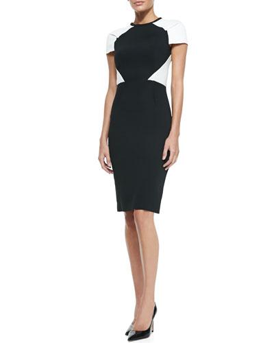 Roland Mouret Timarcha Short-Sleeve Colorblock Dress, Black/White