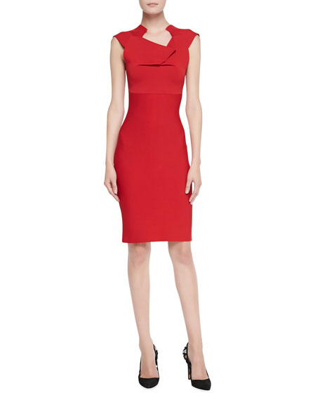 Velia Folded Sheath Dress, Red