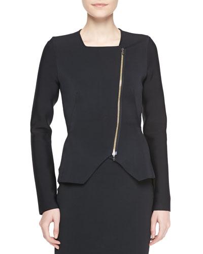Roland Mouret Zabrus Zip-Front Jacket, Black