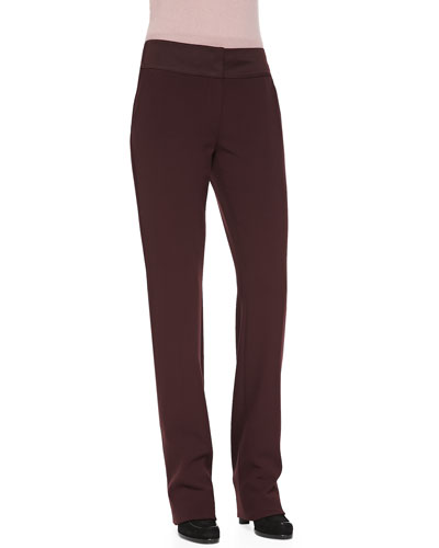 Rena Lange Straight-Leg Trousers with Satin Waistband