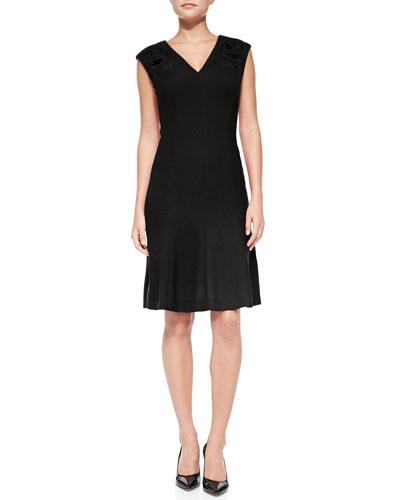 Rena Lange Sleeveless V-Neck Dress with Cutouts