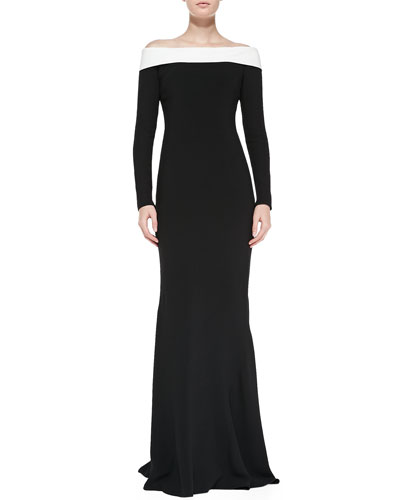 Rena Lange Off-Shoulder Signature Gown with Back Cascading Ruffle