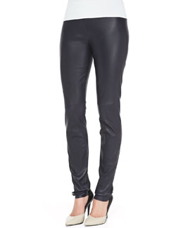 Rena Lange Pull-On Leather Leggings, Black
