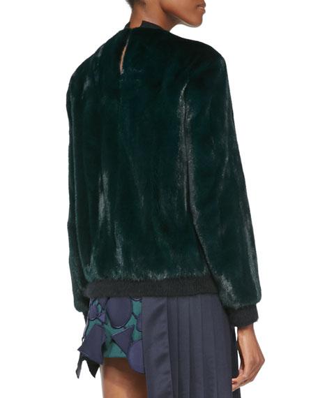 Butterfly Badge Mink Fur Sweatshirt