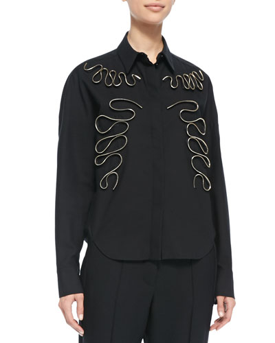 Stella McCartney Swirl-Zip Appliqué Blouse