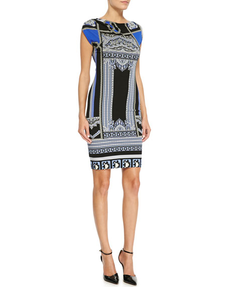 Printed Cap-Sleeve Jersey Dress