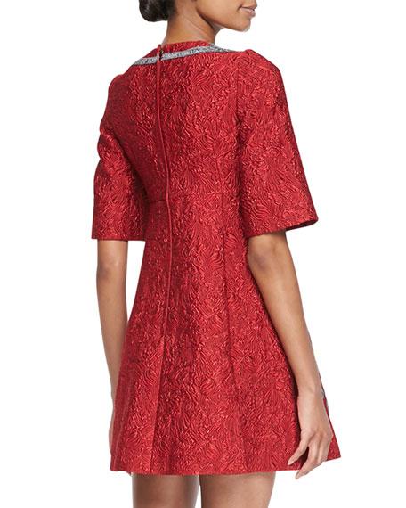 Floral Embellished Jacquard Dress, Red