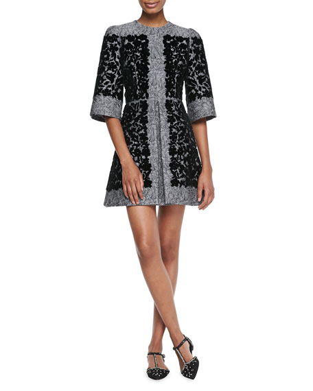 Velvet Flocked Jacquard Dress, Charcoal/Black