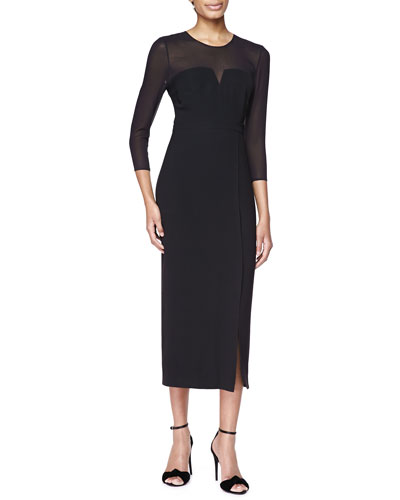 Burberry London Long-Sleeve Sheer-Top Midi Dress, Black