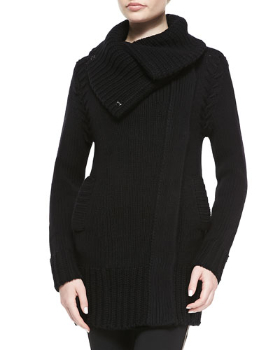 Burberry London Wool/Cashmere Chunky Coat, Black