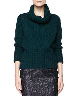 Burberry London Chunky Knit Turtleneck Sweater