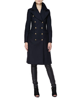 Burberry London Long Double-Breasted Military Coat