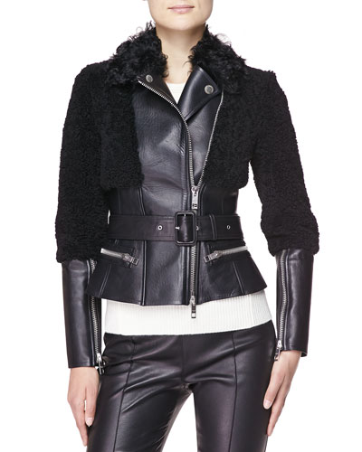 Burberry London Fitted Leather & Shearling Fur Biker Jacket