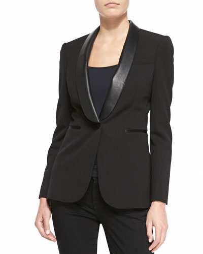 Burberry London Jacket with Leather Shawl Lapels
