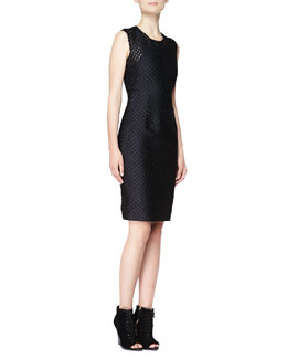Burberry London Sleeveless Fil Coupe Sheath Dress, Black