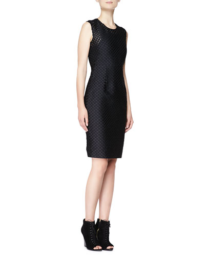 Burberry London Sleeveless Fil Coupe Sheath Dress, Black