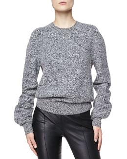 Burberry London Wool Tweed Sweater, Charcoal