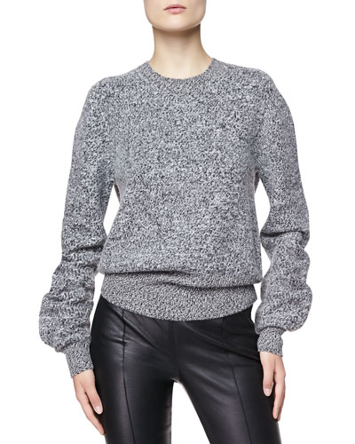 Burberry London Wool Tweed Sweater, Charcoal