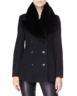 Burberry London Double-Breasted Pea Coat with Fur Collar