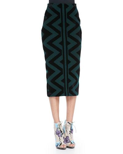 Burberry Prorsum Compact Knit Pencil Skirt, Deep Green/Black