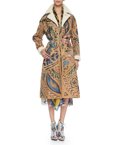 Burberry Prorsum Hand-Painted Shearling & Suede Trench Coat